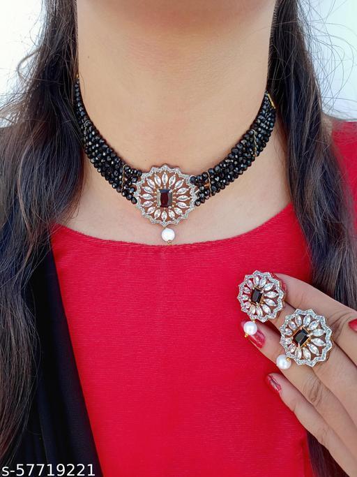 American Diamond High Quality Choker Necklace Set For Women Girls