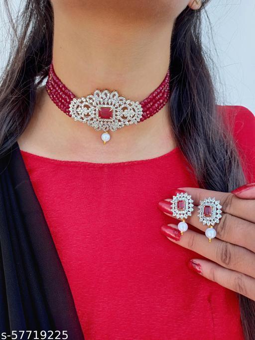 American Diamond Heavy Choker Jewellery Set For Women Girls