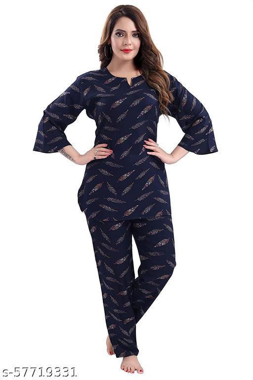 TUFAB® Women's Premium Feather Printed Top & Pyjama Light Weight Cotton Night Suit Set (Navy Blue_6637)