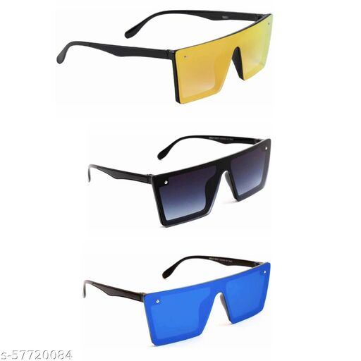 Latest Combo Of 3 Square Sunglasses With 3 Cool Colors For Men's & Women's