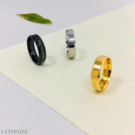 AETAS laser engraved  Black ,golen & silver Carbide Ring Brushed  Comfort Fit Personalized Engrave Supported