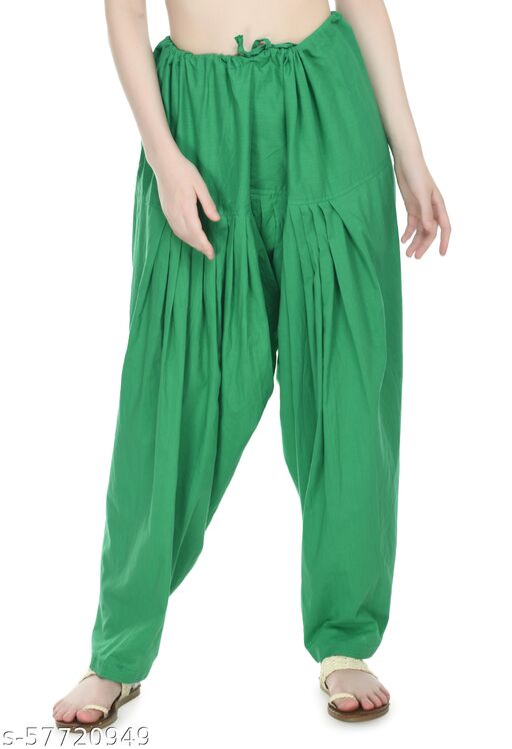 PREEGO Women Cotton Patiala Green Salwar