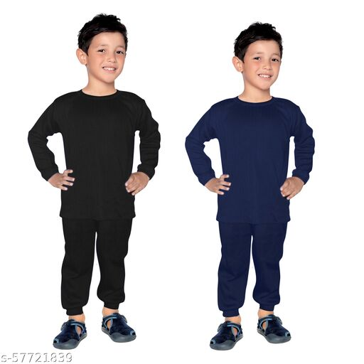 Thermal Wear Top Pajama Set for Boys Girls Kids Baby (Multicolor) (Pack of 2)