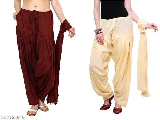 BrandedCentury Women's Traditional Cotton Patiala Salwar for Women (Free Size; Pack of- 2) with Dupatta(Maroon and OffWhite)