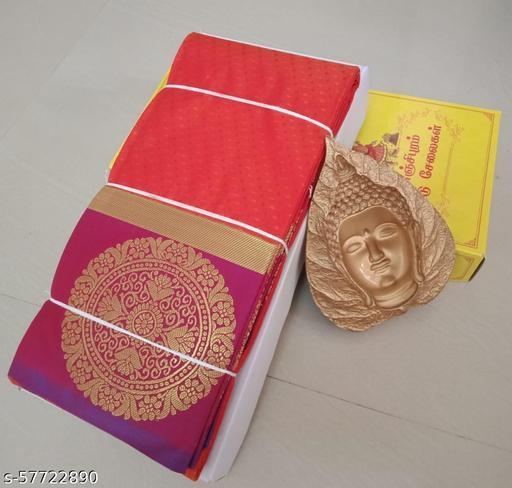 Women's Kanjivaram Soft Silk Saree With Blouse Piece (Orange)