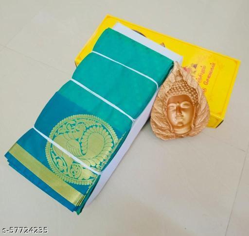 Women's Kanjivaram Soft Silk Saree With Blouse Piece (Aqua Blue)