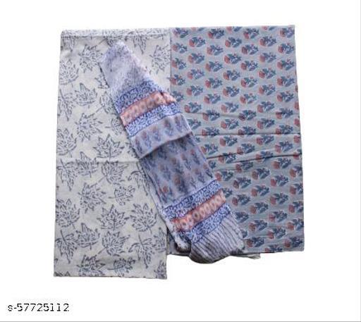 Cotton Linen Blend Suit Material With Chiffon Dupatta