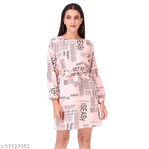 Womens Newspaper Print Mini Dress
