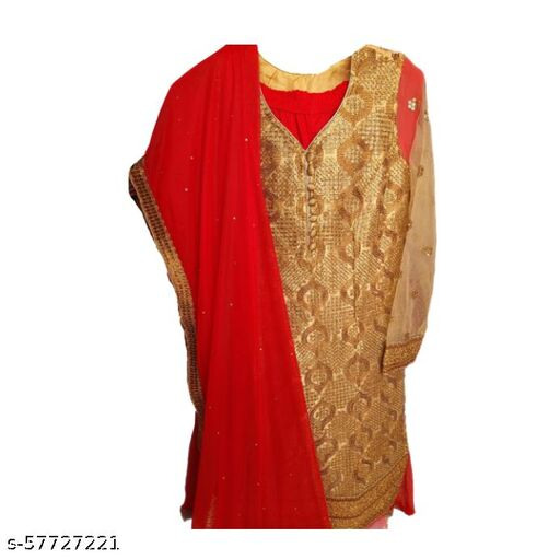 Red Palazzo With Gold Embroidery Kurti Top Readymade / Xl Size Readymade Dress Full Set