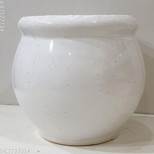Ceramic matka shape classy planter (Small), available in White color with Glaze finish. 6x6x6 inch.