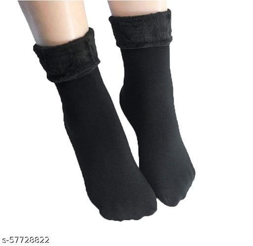Jubination Men & Women Winter Warm Velvet Fur Socks with thumb, Black Colour, Pack of 2 Pair