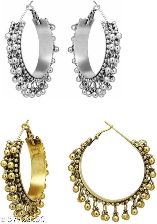 Combo Of Oxodised Silver and Golden Gungru Earrings