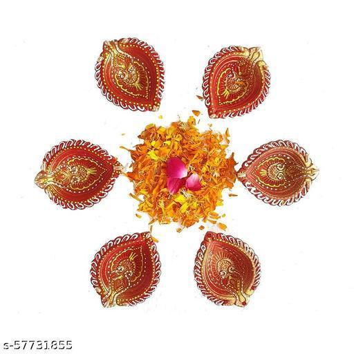 Paithaivk Diwali Decorative Terracotta Mitti Diyas Set of 6 - Deepak, Candles, Home Decoration Light Diya for puja Festival Decor