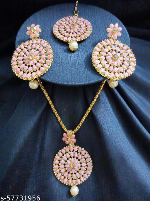Ethnic Wedding Pendant Jewellery set for Women and Girls (Pink)