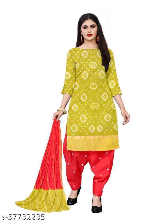 Vidhya Fashion Hub Banarasi Cotton Bandhni Dredss Material
