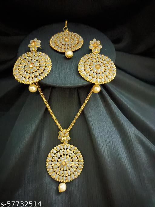 Ethnic Wedding Pendant Jewellery set for Women and Girls (Grey)