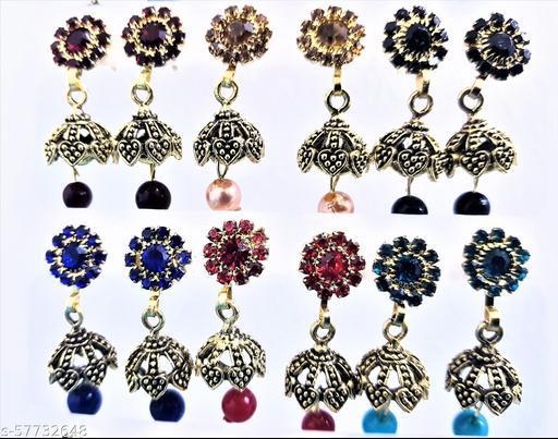 Stone Work Designer Jhumkhas Combo 6 Set Meenakari Kundan Jhumkhi Jhumkhas Fashion Jhumki Earring for Women Girls