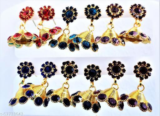 Stone Work Designer Jhumkhas Combo 6 Set Meenakari Kundan Jhumkhi Jhumkhas Fashion Jhumki Earring 20 mmx20 mm for Women Girls