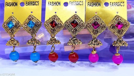 Stone Work Designer Big Size Jhumkhas Combo 3 Set Meenakari Kundan Jhumkhi Jhumkhas Fashion Jhumki Earring 55 x23 mm for Women Girls