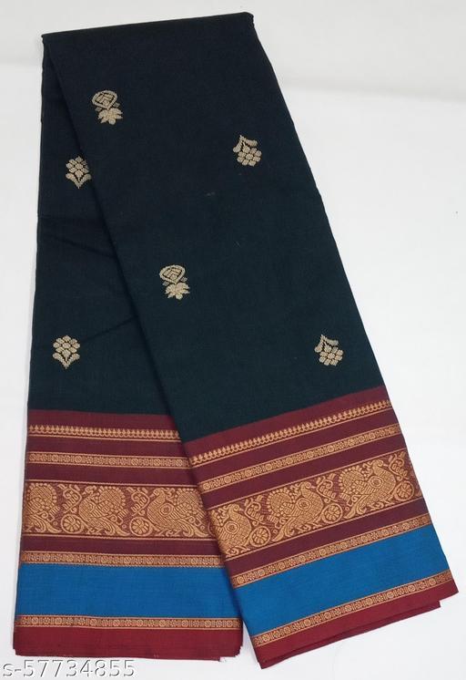 Chettinad Cotton Saree - Long Border Saree With Printed Putta (Dark Peacock Blue)