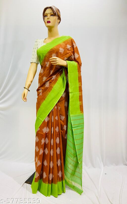 Pick Fashion Handwoven Mercerized Cotton Double Ikat Saree