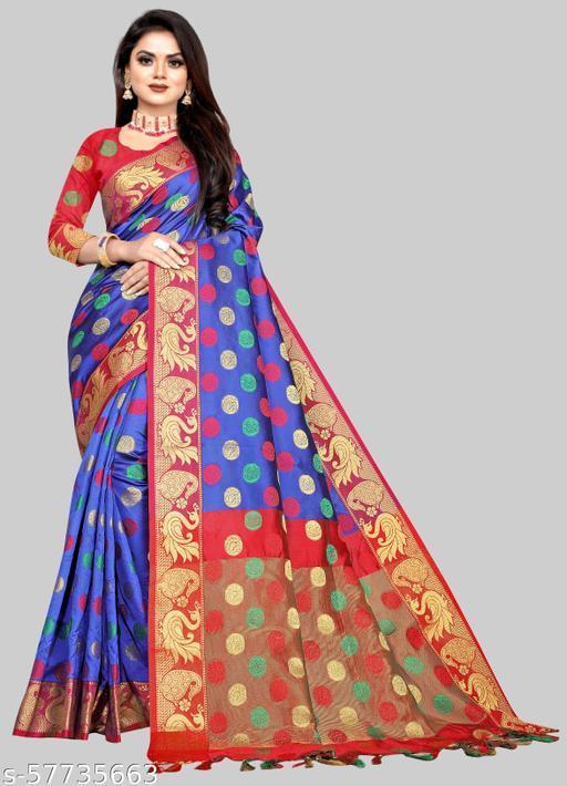 Royal Blue Lichi Jacquard With Zari Weaving Work