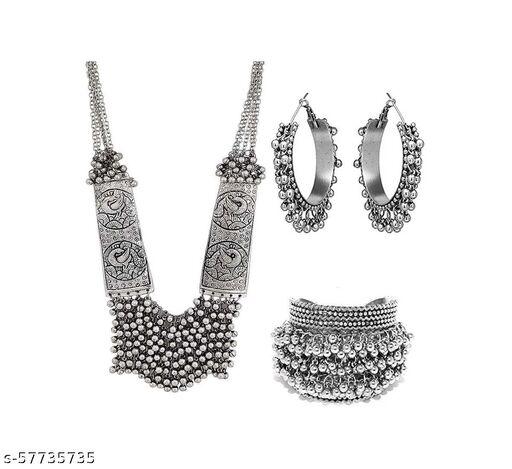 Alloy Silver Jewel Set  (Multicolor)