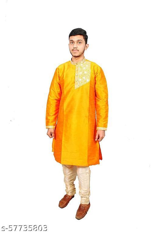 ONE FORT Men's Royal Black Cotton Silk Blend Kurta and Pjama Set