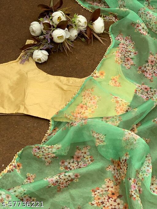 Aarvy Creation Bollywood Style Women's Pure soft Organza saree with Beautiful floral print nd heavy fancy golden lace border