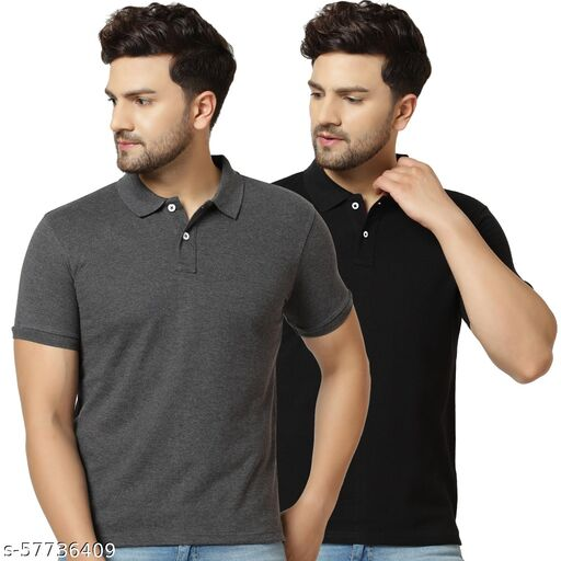 London Hills Solid Men Polo Neck Black, Grey T-Shirt (Pack of 2)