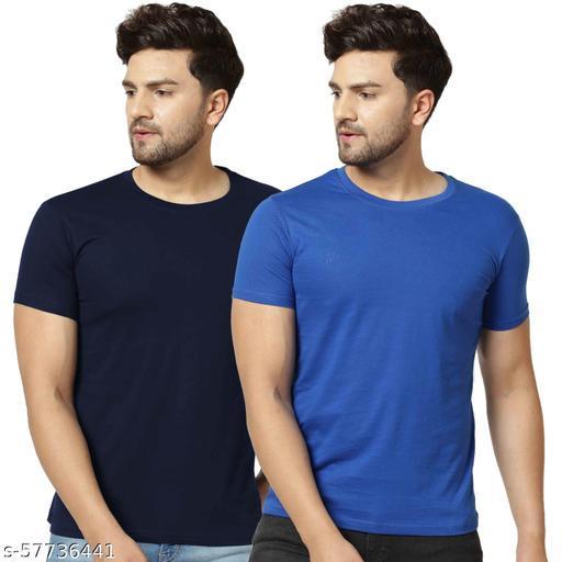 London Hills Solid Men Round Neck Dark Blue, Blue T-Shirt (Pack of 2)
