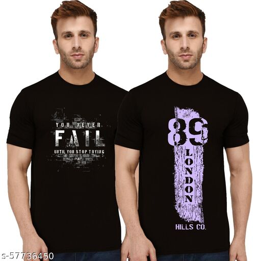 London Hills Typography Men Round Neck Black T-Shirt (Pack of 2)