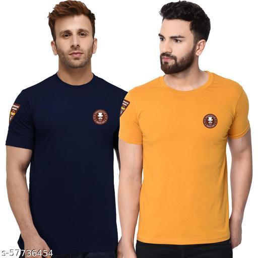 London Hills Solid Men Round Neck Mustard, Navy T-Shirt (Pack of 2)