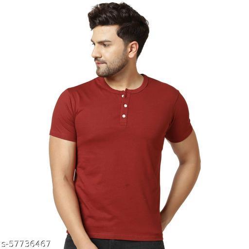 London Hills Solid Men Henley Neck Maroon T-Shirt