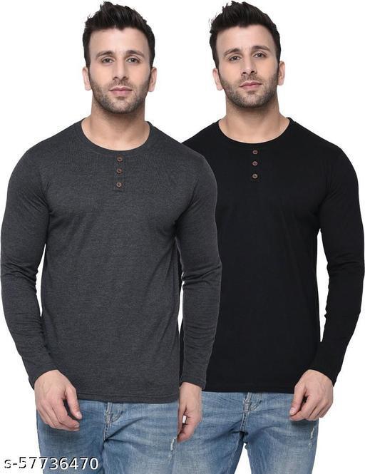London Hills Self Design Men Round Neck Black T-Shirt (Pack of 2)