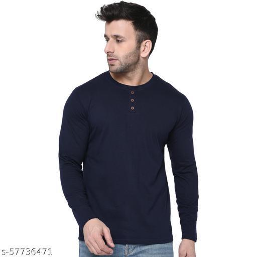 London Hills Solid Men Round Neck Blue T-Shirt