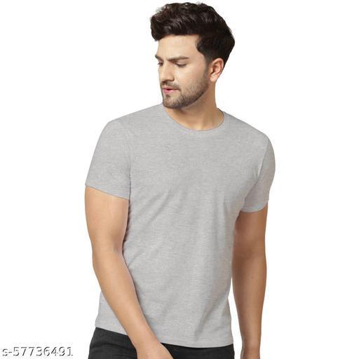London Hills Solid Men Round Neck Grey T-Shirt