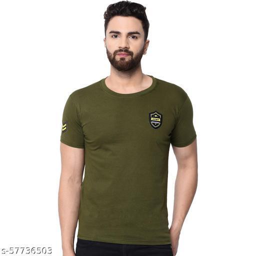 London Hills Solid Men Round Neck Olive T-Shirt