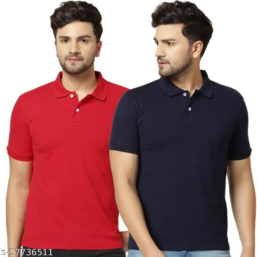 London Hills Solid Men Polo Neck Red, Dark Blue T-Shirt (Pack of 2)