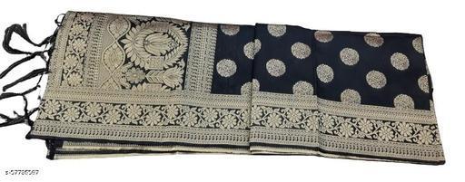 Maurya's Women's Kora Silk Banarasi Dupatta/Chunni (Black With Round Flower)