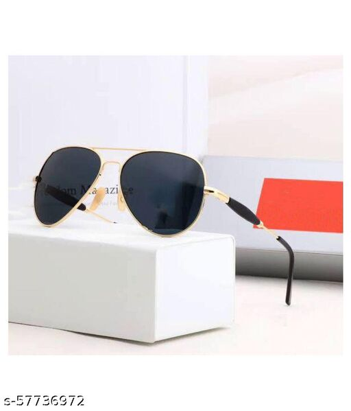 iCare 3517 Black Color Lens and Golden Color Frame Stylish Aviator Sunglasses for Men and Women