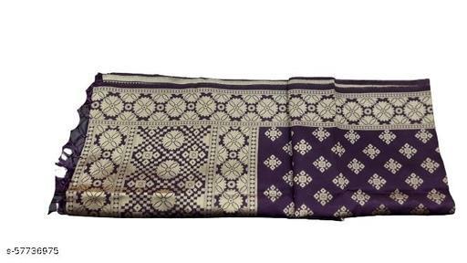 Maurya's Women's Kora Silk Banarasi Dupatta/Chunni (Purple With Flower)