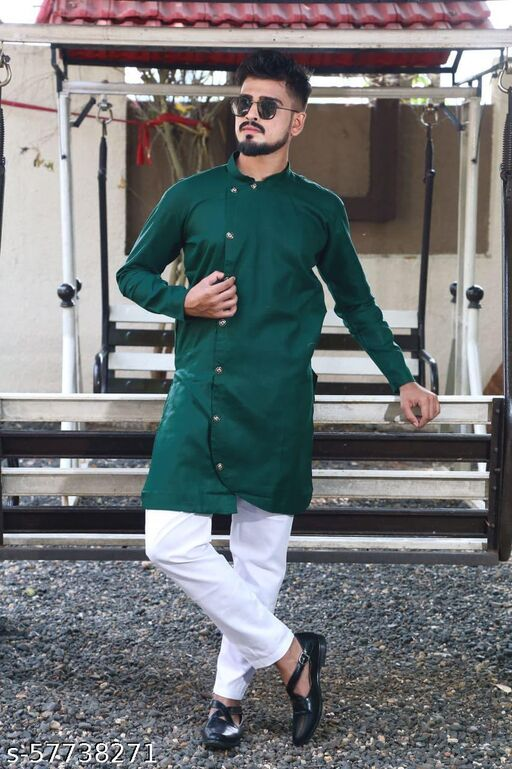men fashion trending  green cross kurta set