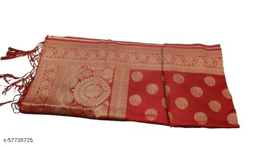Maurya's Women's Kora Silk Banarasi Dupatta/Chunni (Red With Flower)