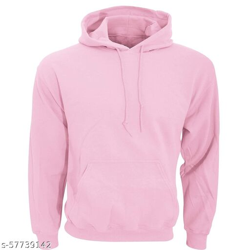Sattvik certified Unisex-Adult Cotton Hooded Neck| Fashion and Youth Men's Cotton Plain Pink Hoodie Sweatshirt (Pink,Large)