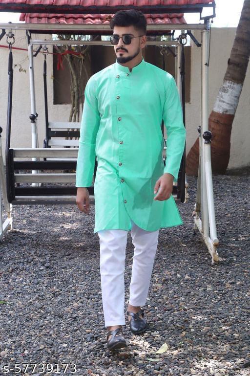 men fashion trending  firozi cross kurta set