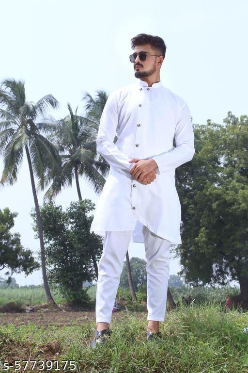 men fashion trending white cross kurta set