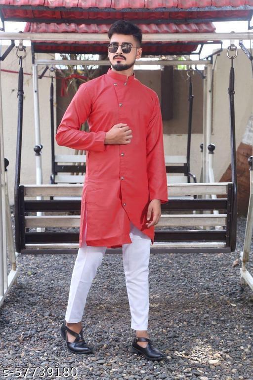 men fashion trending  red cross kurta set