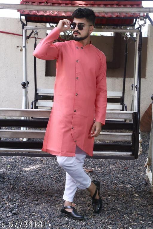 men fashion trending  pink cross kurta set