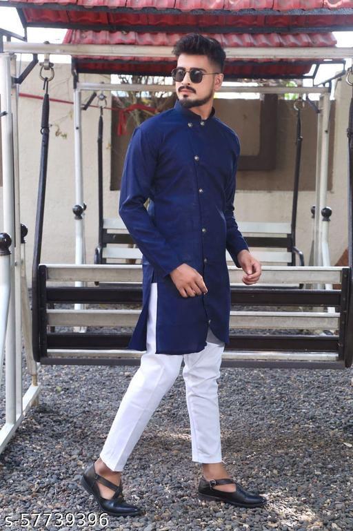 men fashion trending blue cross kurta set